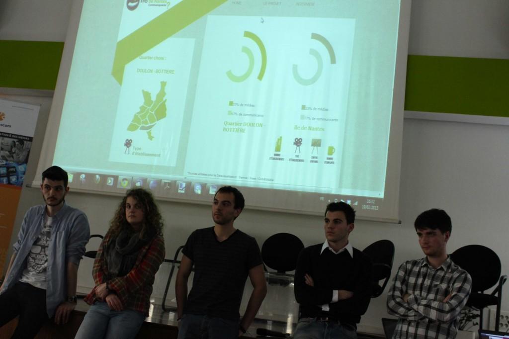 """Le groupe Com&Médias sur le projet """"Une île de communicants"""" devant le jury."""